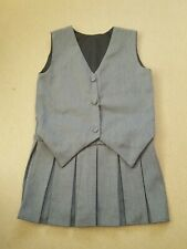 Schoolwear Girl's Grey Waist Coat Pleated Look Pinafore Dress Age 3-4 Years