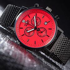 DETOMASO Milano Mens Wrist Watch Milanaise Mesh Strap Chronograph Black Red New