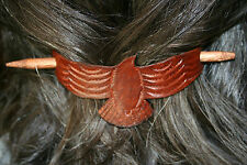 Leather Hair Pin - Red Tail Hawk w/ Wood Pin - Handmade in USA