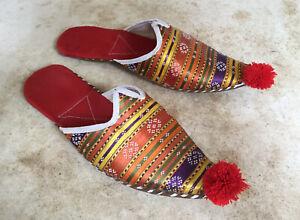 Vintage Turkish Ottoman Genie Slippers Multicolour Silk Leather Aladdin Size 40