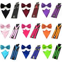 Men Satin Solid Color Bowtie Y-Shape Suspenders Handkerchief Pocket Square Set