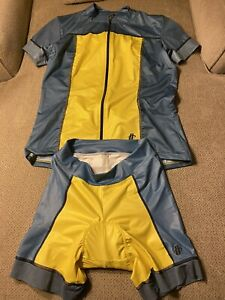 Women's Hincapie Gray Yellow Cycling Kit Jersey Padded Shorts