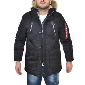 Parka uomo ACY art.3447 nero lungo con pelliccia rimovibile made in italy moda c