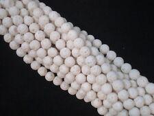 Lava Beads Matte White 6mm Roundish Beads 35cm Strand Jewelry FREE POSTAGE