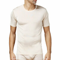 Pure Silk Knit Mens Shirt Round Neck Short Sleeves Solid US S M L
