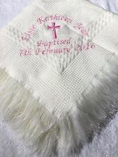 Personalised embroidered christening shawl white / cream with name date & cross