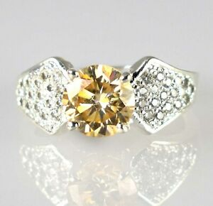 Champagne Diamond Solitaire With Accents 4.73 Ct Men's Ring 925 Sterling Silver