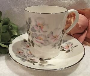 """Beautiful VINTAGE ROYAL ADDERLEY Duo-CUP & SAUCER- """"SILVER ROSE"""" - Pat No. H1390"""