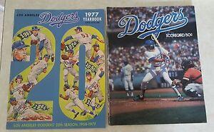 1977 LOS ANGELES DODGERS LOT YEARBOOK & PROGRAM SCORECARD MAGAZINE CARDINALS