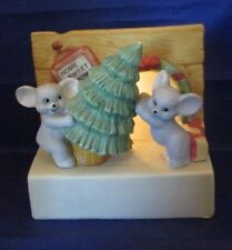 We Wish You A Merry Christmas Lighted Music Box Mice w/ Tree Home Sweet Home