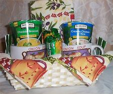 Soup For 2 Gift Basket Ceramic Bowls Crackers Cookies Tea Kitchen Towels Dish Ra