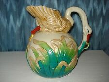 MOJOLICA POTTERY LARGE SWAN PITCHER NECK AS HANDLE, COLORFUL  DECORATIVE