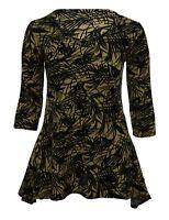 Womens New Beige Black Leaf Print Dipped Hem Tunic Top Plus Size 12 To 26 BNWT