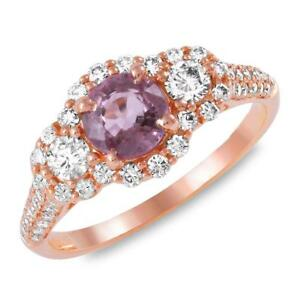 Certified 1.05cttw Pink Sapphire 0.75cttw Diamond 14KT Rose Gold Ring