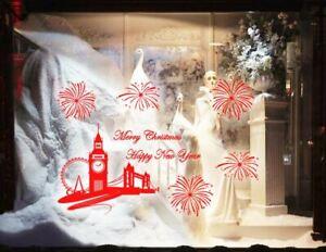 Huge Christmas New Year Firework London Skyline Shop Window Sticker Wall Décor