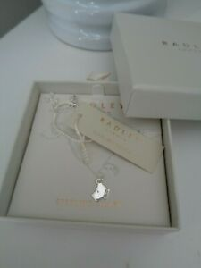 BNWT Radley Sterling Silver Small Dog Head Pendant with Crystal Collar Necklace