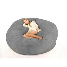 Luxury 7-Foot Bean Bag Chair Cover Microsuede Black, Machine Washable Big