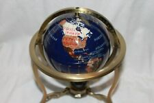 "Lapis Gemstone World Globe 8"" Desk Top Semi Precious Stone Inlaid Compass"