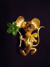 Vintage Walking Mouse Holding a Green Flower Pin or Brooch