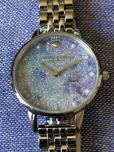 New Olivia Burton Under The Sea Faux Pearl & Crystal Glittery silver strap Watch