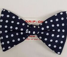 NOS Vintage Mens Bow Tie Clip On NeckTie Blue Satin White Polka Dot Career New