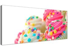 Pink Large Canvas Art of Cupcakes for Kitchen  - 120cm x 50cm - 1084