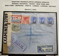 1941 Nassau Bahamas Airmail Censored Cover to Bank Belfast Ireland