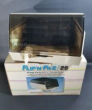 "Vintage Flip N File 25 - 5 1/4"" Flexible Floppy Disk Disc Holder /w Box & Key"