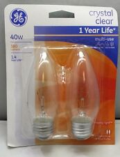GE Lighting 76232 Crystal Clear 40-Watt 380-Lumen blunt tip decorative / 2 Pack