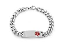 Steeltime Men's Stainless Steel Medical Alert ID 8'' Logo Bracelet Silver New