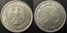Allemagne - République de Weimar - 50 reichspfennig 1927 J, Hambourg SUP - KM#49