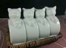 FOUR(4) CAT NAPKIN RINGS WHITE PORCELAIN CROWNING TOUCH COLLECTION W/ BASKET EXC