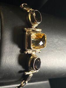 Designer Sterling Silver Lemon & Smoky Quartz Bracelet