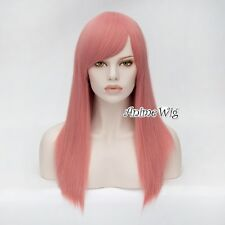 "22"" Milkshake Pink Long Straight Lolita Fashion Lady Cosplay Wig Heat Resistant"