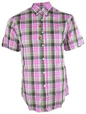 arfango italia camicia uomo manica corta quadri rosa taglia 37 14 1/2 s small
