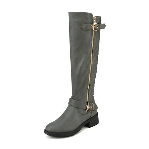 DREAM PAIRS Women Low Heel Zipper Knee High Riding Boots(Wide-Calf Available) US