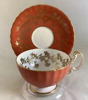 """Vintage, """"AYNSLEY"""" England Bone China Gilt Floral Teacup & Saucer - Orange - New"""