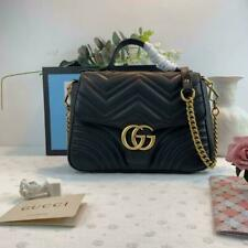Authentic GUCCI Hibiscus Black Mini GG Marmont Matelass¨¦ Leather Top Handle Bag