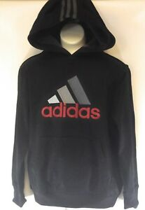 NEW Boys Girls Kids Youth Adidas W60903 Black Silver Red Logo Hoodie Sweatshirt