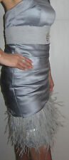 Euc fashion beaded party casual dress formal evening Ostrich Feather size S 4