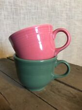 Pair HLC Fiesta Homer Laughlin Mugs Cups Salmon Sage Green Coffee Tea