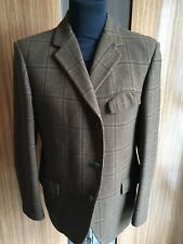 VINTAGE DUNN & CO SPORTS JACKET/BLAZER 38R NEUTRAL/BROWN CHECK CROMBIE TWEED