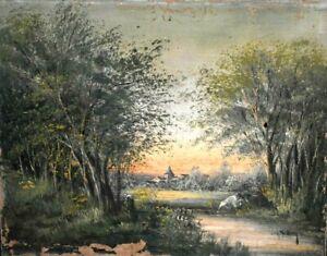 Tableau ancien huile paysage animé Barbizon école Française signé L.Henry XIXème