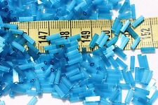 2x7mm Bugle Bead #3 Straight Satin Aqua Czech Glass Beads Crafts Jewelry/1oz