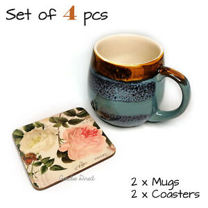 Set of 4 pcs, 2 x Reactive Glaze Mug Dunelm + 2 x Rose Garden Coasters