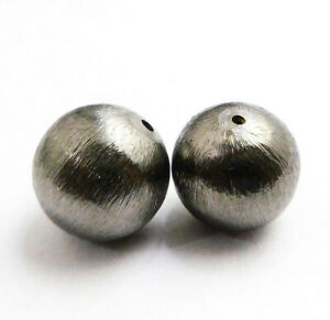 2 PCS 25MM SPACER BRUSHED BALL BEADS BLACK GOLD PLATED  UFL-739
