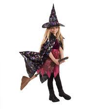 Karneval Kostüm Mädchen Gr. 110 116 122 128 134 Hexe Umhang + Hut Kinder Umzug
