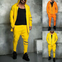 Mens Tracksuit Set Hoodies Sweatshirts Hooded Jacket Coats Joggers Pants Suit
