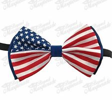 America Flag Bow Tie 4th Of July Patriotic USA Adjustable Bow Tie