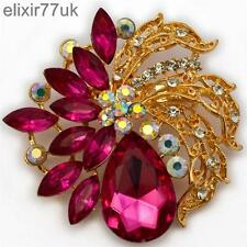 "NEW 2.5"" LARGE GOLD FLOWER BROOCH PINK DIAMANTE CRYSTAL WEDDING BRIDAL BROACH UK"